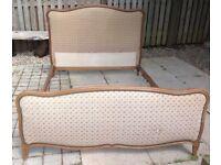 Genuine French Antique Solid Oak Upholstered Double Bed Fram