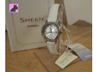 Casio SHE-4036L-7AUDR Sheen White Leather Strap / Swarovski Crystals - NEW - RRP £85
