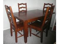 Extendable Dining Table and 6 Chairs. Hardwood. Quality Finish