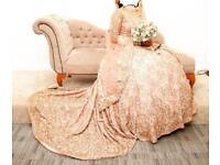 Luxury Hand Designed Custom Made Wedding Lehenga Dress in DUSKY PINK - once worn!