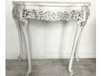 Beautiful hand painted white vintage console table sideboard- French inspired