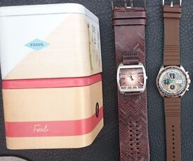 2 Fossil Watches Men's brown leather turquoise with tins VGC