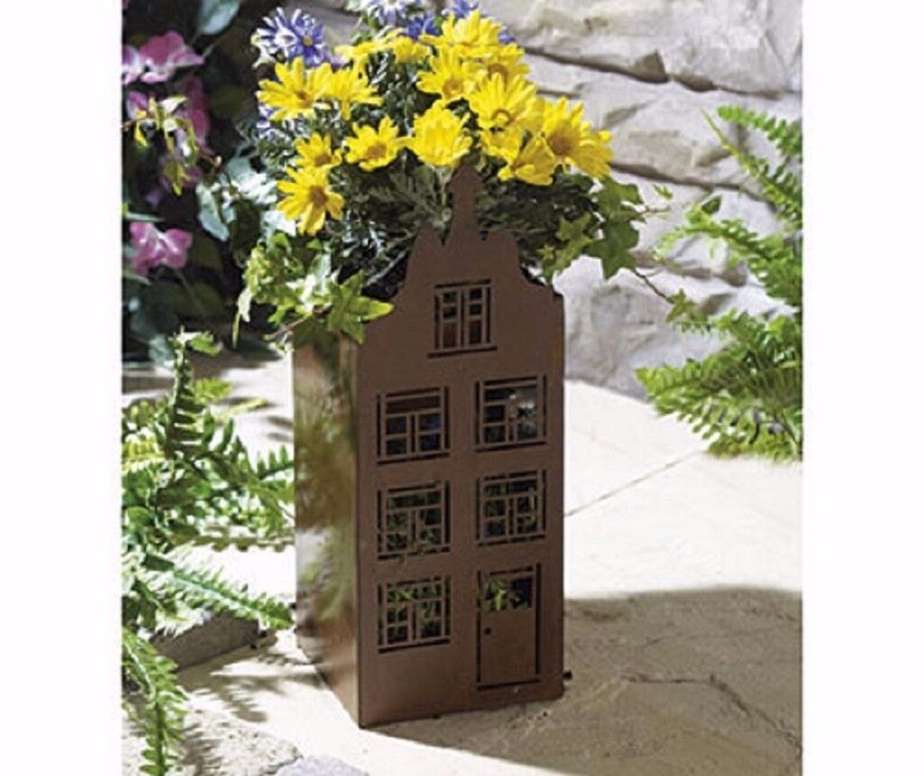 RUSTIC METAL HOUSE PLANTER NEW IN BOX