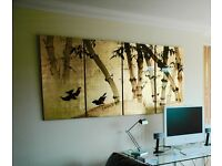 """Japan, ? four wall panels depicting """"Birds and Bamboo"""""""