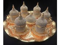 Turkish Arabic coffee tea set for 6 Swarovski crystal coated gold colour cups