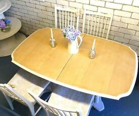 Great Price🌟SOLID WOOD HAND PAINTED TABLE & CHAIRS