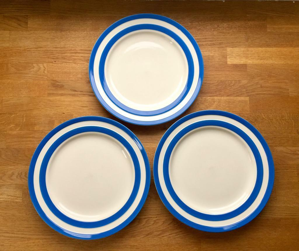 T.G. Green Cornishware Cornish Blue Stripe Main Dinner Plates x 3 - Blue and White Rustic & T.G. Green Cornishware Cornish Blue Stripe Main Dinner Plates x 3 ...