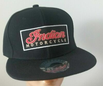 Indian Motorcycle Cap Flat Bill Adjustable Snapback Black Motorcycle Hat Indian