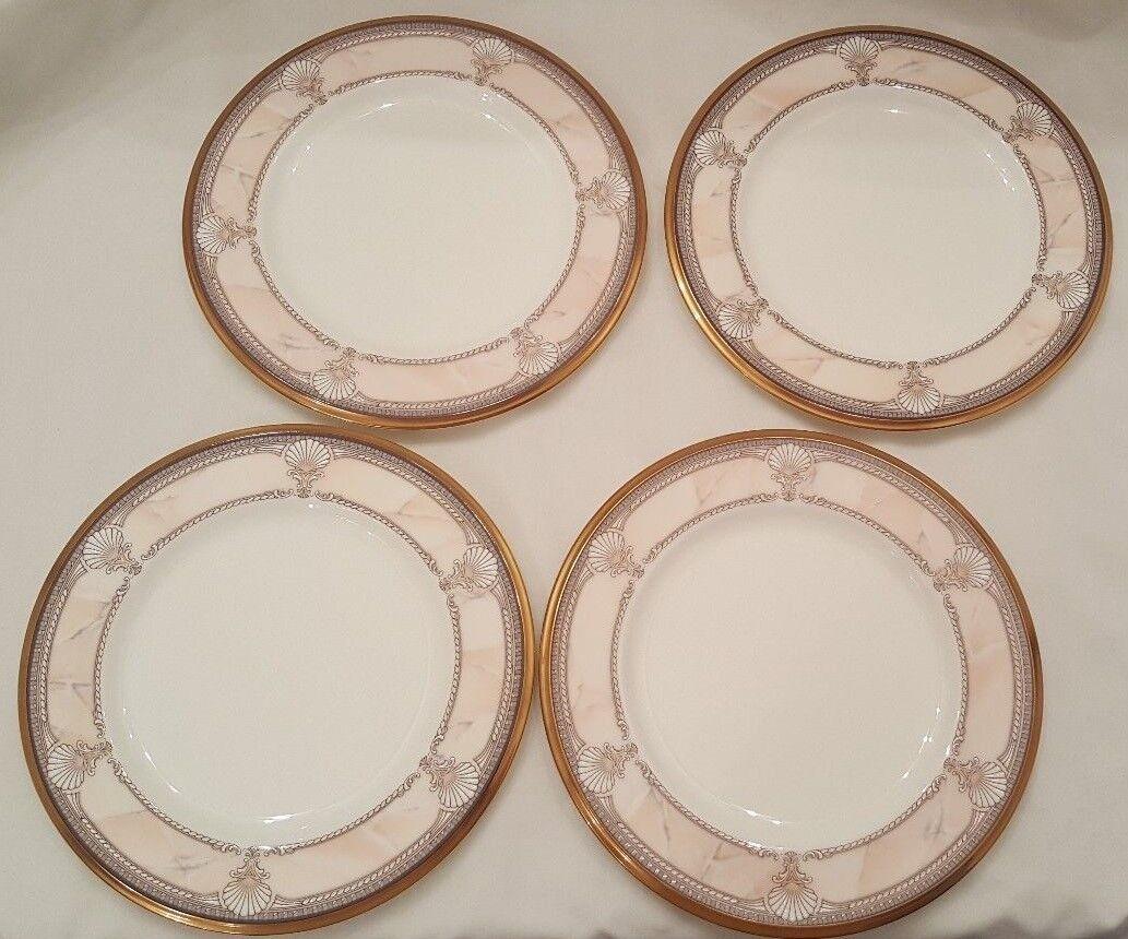 4 Noritake China Pacific Majesty 9771 Bread Plates 6 5/8 Pink Gold Rim Shells - $23.95