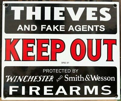 Winchester Porcelain Advertising Sign Smith and Wesson Keep Out