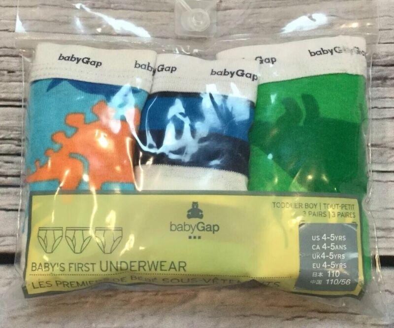 Baby Gap Boys 4-5 Set Of 3 Dinosaur & Stripe Underwear. Nwt