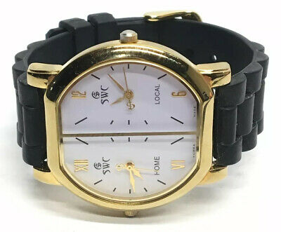 SWC Samsung Watch Co. Dual Time Wrist Watch Home and Local Times Water Resistant
