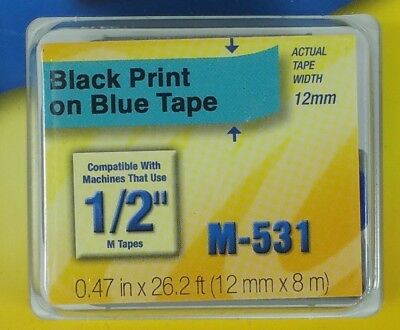 Genuine Brother M531 P-touch Label Tape 12 Black On Blue 12mm Ptouch M-531 New