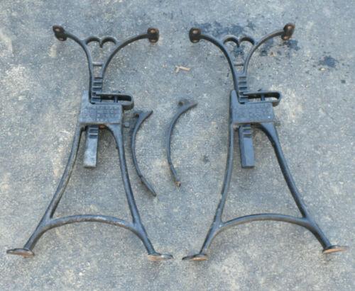 Antique CHANDLER Pat. 1892 Cast Iron Adjustable Legs Industrial Heart Motif