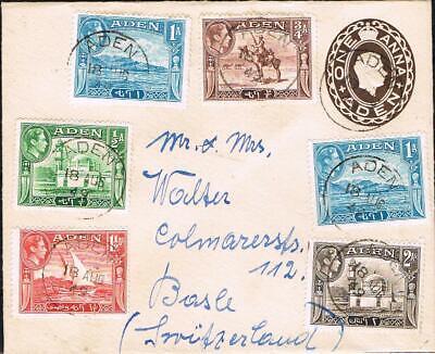 aden GVI 1949 one anna stationery envelope uprated to switzerland
