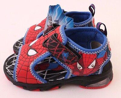 Marvel Spider Man Toddler Boys Light Up Shoes Sandals Size 7 M Red Blue - Spider Man Light Up Shoes