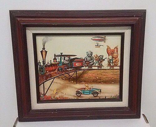 Whimsical Teddy Bear Painting On Canvas Signed Thompson Train Band Blimp Car