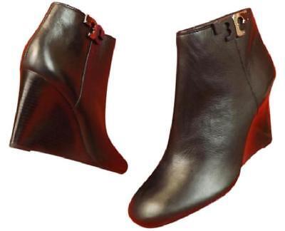 NIB TORY BURCH Lowell Tumbled Vitello Leather Reva Wedge zip Ankle Booties  10.5