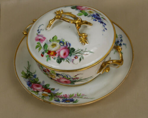 French porcelain hand paint floral bonbonniere chocolate candy box on plate