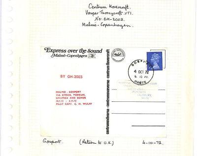 BC263 1972 SWEDEN GB Gosport Hants *Return Hovercraft Service* Machin Postcard