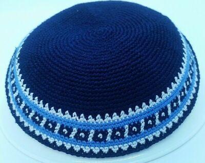 Blue Knit Yarmulke Yamaka Judaica 17 cm kippot Skull Cap Kippah Kipa Shabbat