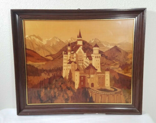 """Wow! Vtg Mid Century German Wood Inlay Marquetry Castle 18"""" x 15"""""""