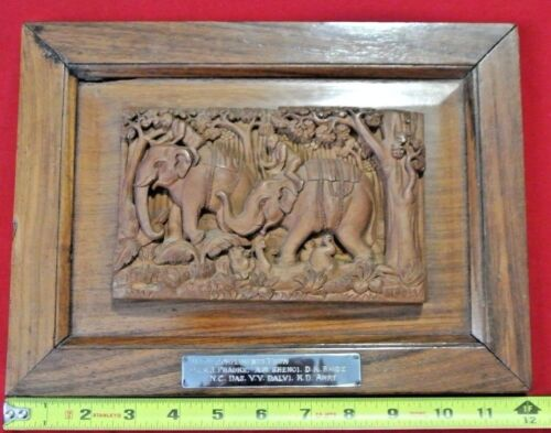 Vtg African Tribal Carved Wood Elephant Riders Trampling Tiger Engraved Plaque
