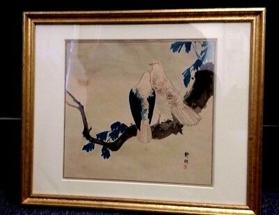 "VINTAGE BLOCK PRINT JAPANESE TWO BIRDS ON BRANCH SIGNED 9 1/2 X 10"" FRAME 13X15"