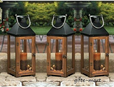"10 large brown wood & metal 20"" tall Candle holder Lantern wedding centerpieces"