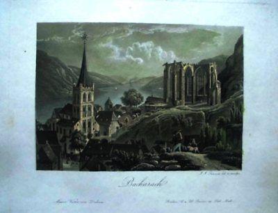 BACHARACH - Ansicht und Wernerkapelle - J.J. Tanner - kolorierte Aquatinta 1840.