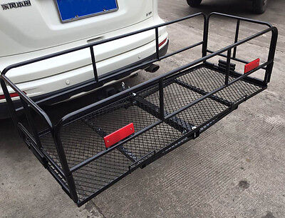 "New 60"" Folding Cargo Carrier 2 "" Hitch-Mount Luggage Mesh Rack Basket"