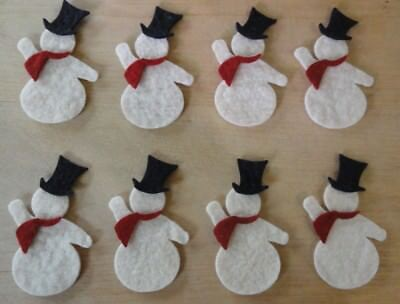 pRiMiTiVe Wool Felt Die Cut Shapes~Penny Rug~Applique~8 Snowmen~3