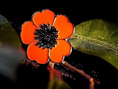 Enamel Red/Black Poppy Flower Remembrance Lapel Pin