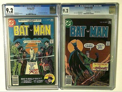 BATMAN #291 & #292 BOTH CGC GRADED 9.2 NM- +READERS JOKER RIDDLER DC COMICS 1977