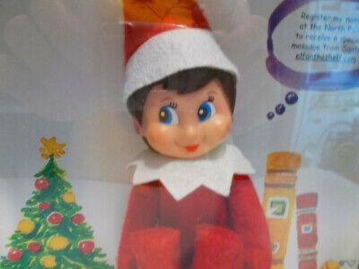 The Elf on the Shelf Story Book and Doll Blue Eyes Dark Hair Girl Christmas Elf