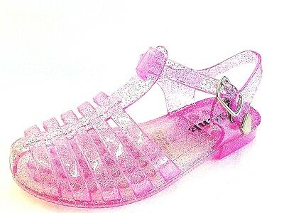 Retro Girls (Girl's Youth T-Strap Retro Rain Jelly Flat Sandals)