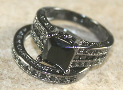 Black SILVER Elegant Black Onyx Wedding & Engagement Ring Set Size (Black Onyx Circle Ring)