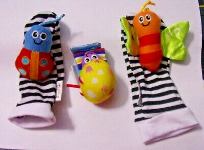 Lamaze Baby Foot Finder Rattle Set 2 Striped Socks & 1 Bracelet