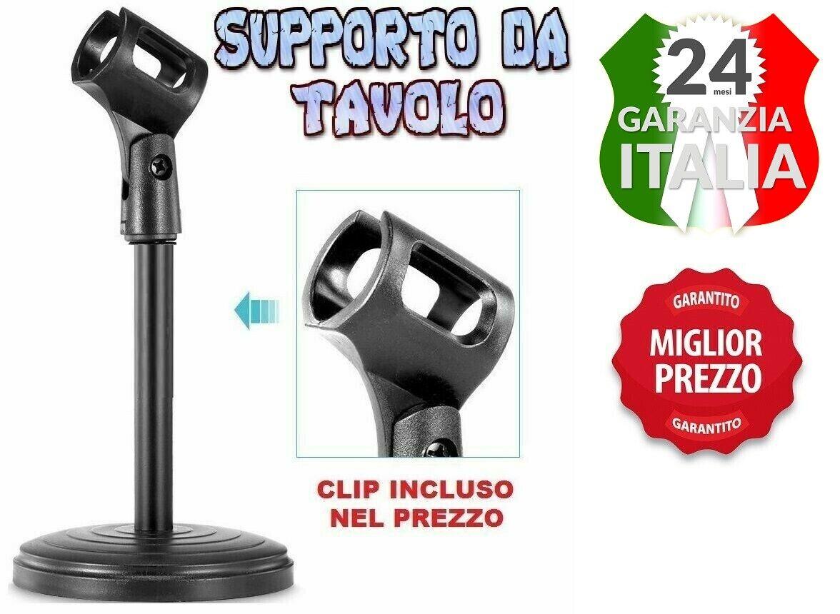 ASTA PER MICROFONO CON SUPPORTO BASE DA TAVOLO MICROFONO+CLIP PORTA MICROFONO
