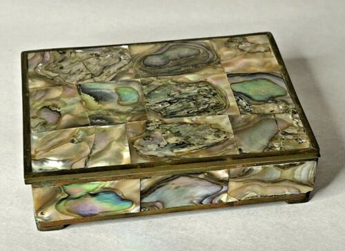 Vintage Brass and Abalone Trinket Box Mexico