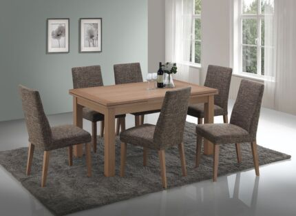 LONDON SOLID AMERICAN OAK DOUBLE EXTENSION DINING TABLE 6 CHAIRS