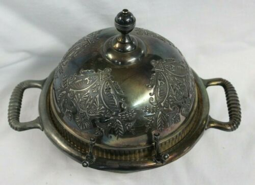 ORNATE Rogers Bros Silver Co Domed Butter Dish Triple Plate Silverplated 2118
