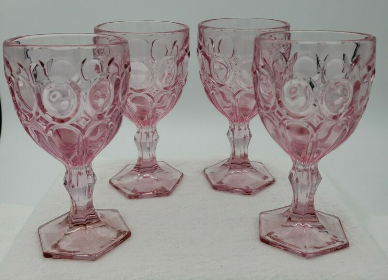 VINTAGE Fostoria PINK Glass Goblets 4 oz. MOONSTONE Pattern Set of 4