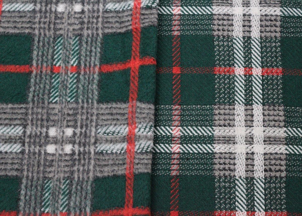 Forest Modern Tartan Poly Viscose Acrylic Blend Coating Dress Fabric Material
