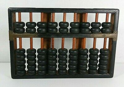 Antique Wood & Brass Abacus Lotus Flower Type 9 Rods 63 Beads original NICE