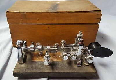 Vintage Vibroplex Red Bug Telegraph/Morse Code Key, 833 Broadway, NY WOOD CASE