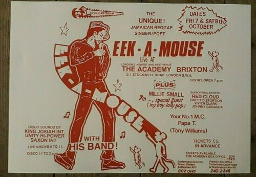 Reggae promo concert poster - EEK a MOUSE & Millie Small Brixton 1983 A3 reprint