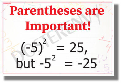 - Parentheses are Important! - NEW Classroom Math Science Algebra POSTER (ms330)