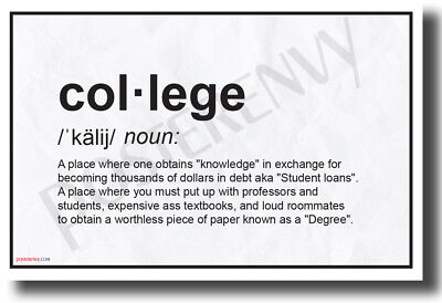 College Definition - NEW Humorous College Dorm