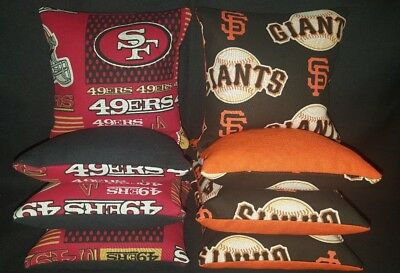 San Francisco 49ers Giants Set of 8 Cornhole Bean Bags FREE SHIPPING San Francisco Giants Bean Bag